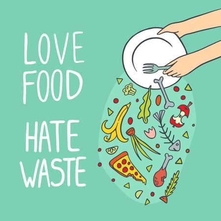 Przestań marnować ilustracji wektorowych kolor żywności. Uwielbiam jedzenie i nienawidzę marnotrawstwa.