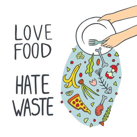 Stop Wasting Food Illustration Illustration