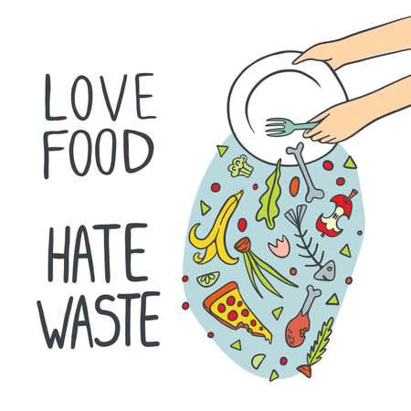 Stop Wasting Food Illustration Çizim