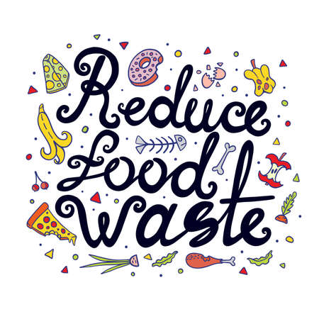 Reduce Food Waste Hand Drawn Lettering