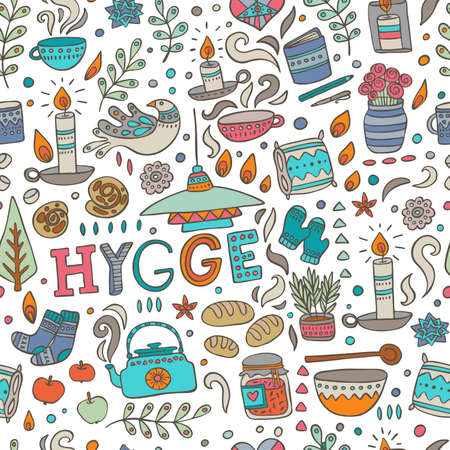 Time to Hygge. Hand drawn vector seamless pattern about danish living concept.