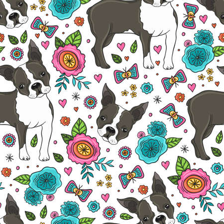 Boston Terrier And Flowers Seamless Pattern Векторная Иллюстрация