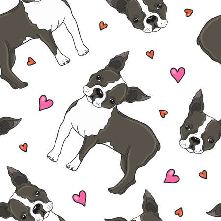 Boston Terrier And Hearts Seamless Pattern