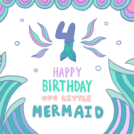 Happy Birthday Card with Number Four With Mermaid Tail Vector Illustration