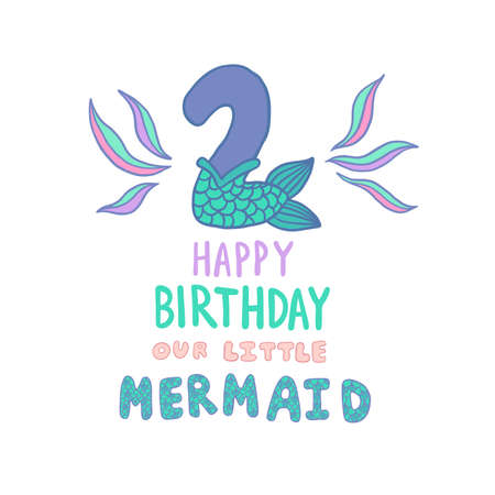 Happy Birthday Card with Number Two With Mermaid Tail Vector Illustration Standard-Bild - 107070218