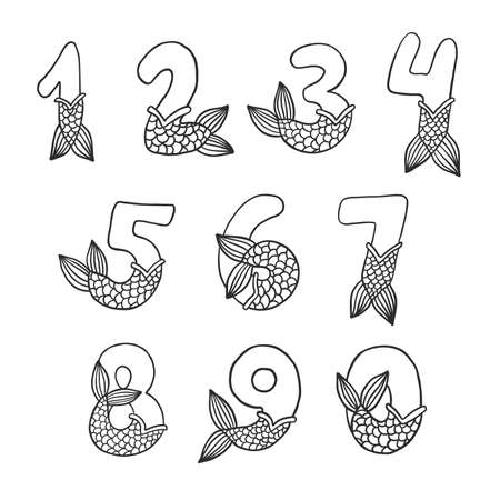 Numbers With Mermaid Tail Beautiful Vector Set