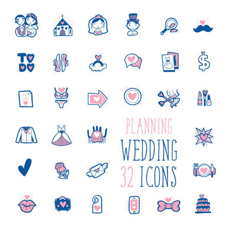 Wedding Planning Icons Collection. Beautiful Design Icon Set for Wedding App.