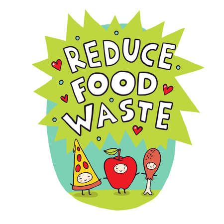 Reduce Food Waste Cartoon Vector Illustration