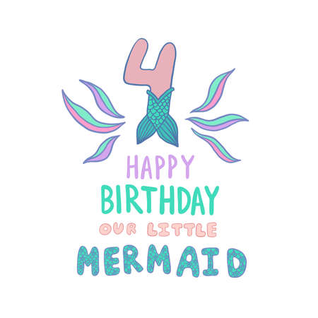 Number Four With Mermaid Tail Vector Illustration Reklamní fotografie - 110476328