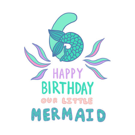Number Six With Mermaid Tail Vector Illustration