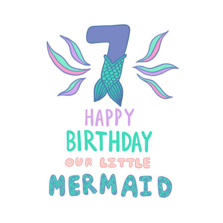 Number Seven With Mermaid Tail Vector Illustration