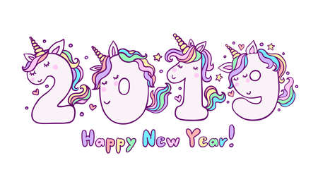2019 With Cute Unicorn Numbers Vector Illustration. Beautiful cartoon element for invitation, greeting card and cake topper design.