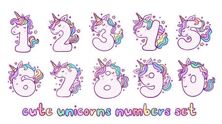 Numbers With Cute Unicorns Character Vector Set. Beautiful cartoon element for Kids Birthday Party invitation, greeting card and cake toppers design.