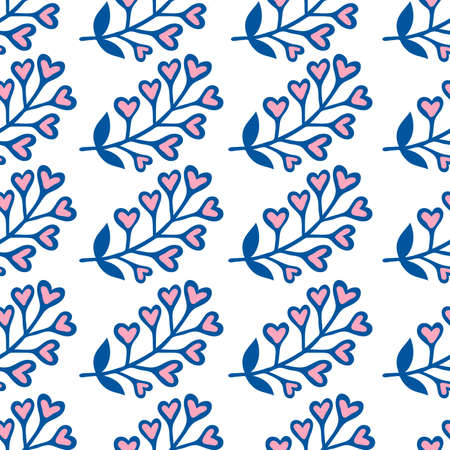 Hand drawn floral seamless pattern with hearts. Vector spring background for valentines day, wedding, greeting card, prints. Ilustrace
