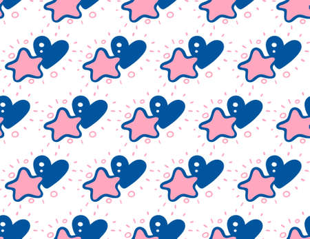 Doodle seamless pattern with pink stars and blue hearts on white background.