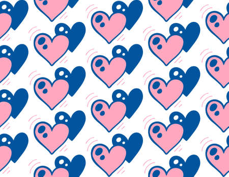 Doodle seamless pattern with pink and blue hearts on white background.