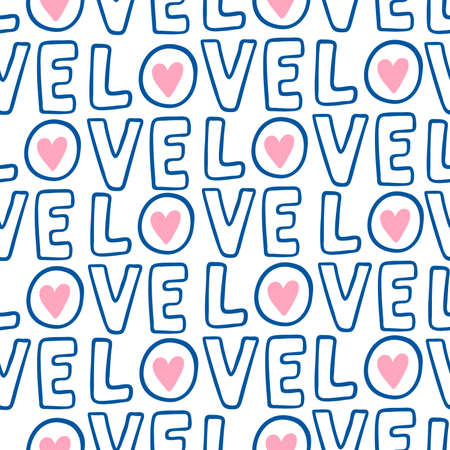 Hand drawn word Love seamless pattern with pink hearts. Vector spring background for valentines day, wedding, greeting card, prints.