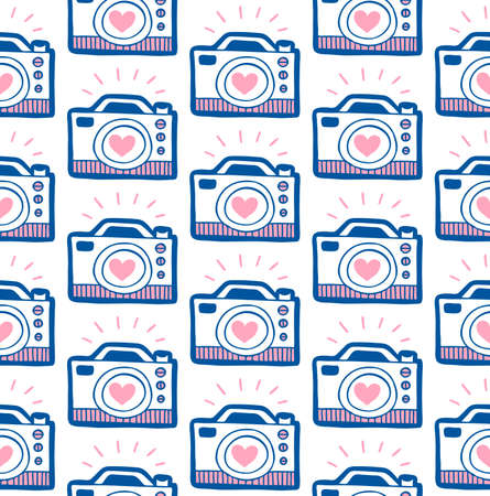 Doodle camera with heart seamless pattern. Vector spring background for valentines day, wedding, greeting card, prints.