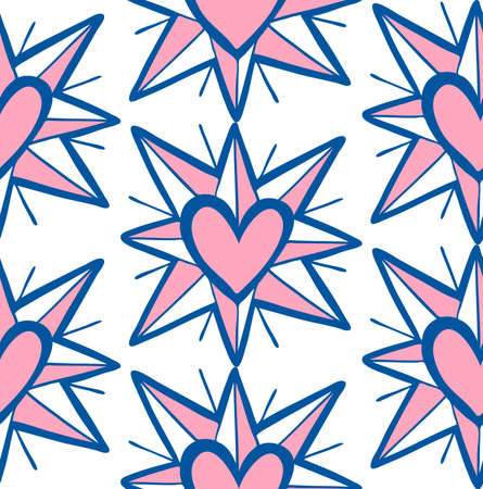 Doodle seamless pattern with pink heart in star on white background. Ilustrace