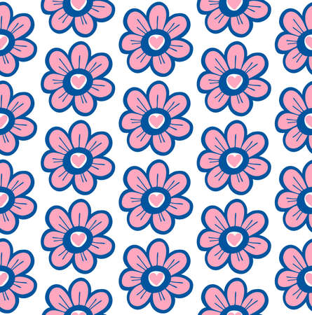 Hand drawn floral seamless pattern with flowers and hearts. Vector spring background for valentines day, wedding, greeting card, prints.