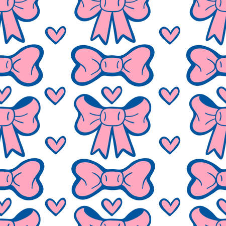 Doodle seamless pattern with pink bows and hearts on white background.