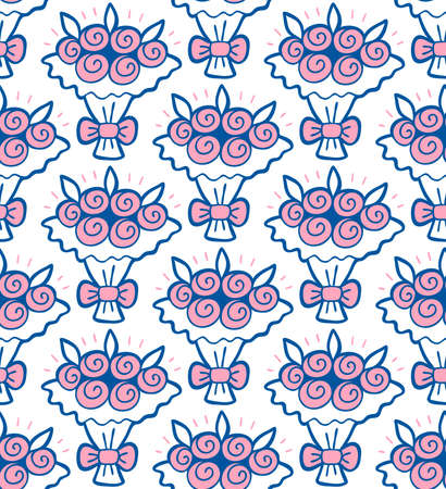 Hand drawn floral seamless pattern with wedding rose bouquet Vector spring background for valentines day, wedding, greeting card, prints. Ilustrace