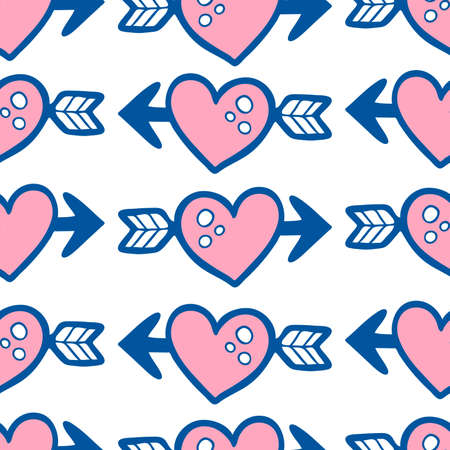 Doodle seamless pattern with pink heart and arrow on white background.