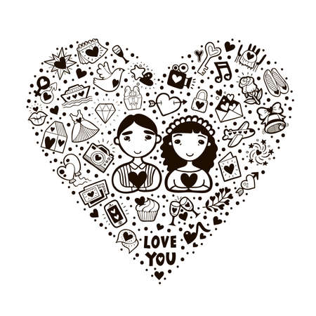 Cute cartoon vector romantic card illustration. Heart shape made of romantic signs: hearts, flowers, whale, gift, bird, cake, photos, etc. Vector heart shape filled with doodles