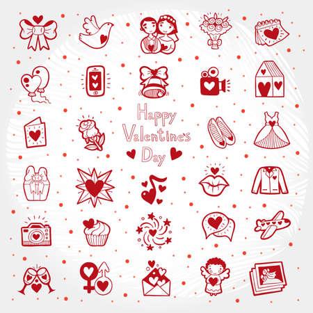 Valentines Day Doodle Postcard