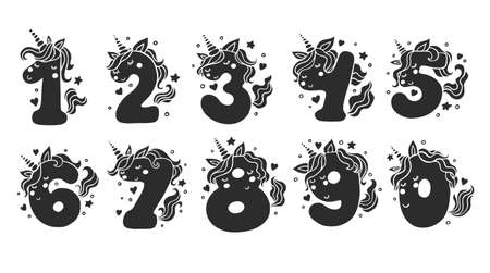 Numbers With Cute Unicorns Character Vector Set. Beautiful black cartoon element for kids birthday party invitation, greeting card and cake toppers design.