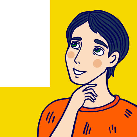 Young man looks up and thinks. Cartoon vector illustration.