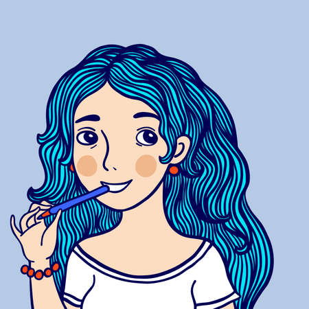 Girl with blue hair gnaws a pencil and thinks. Cute character vector illustration. Ilustrace