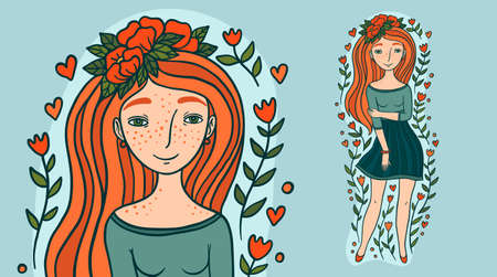 Beautiful young woman with red hair. Female cartoon character vector illustration.