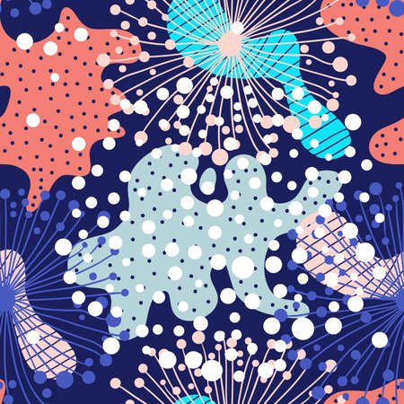 Creative abstract background with bright spots element. Doodle cell structure seamless pattern in trendy colors. Design for fabric and textile. Good for card, invitation, brochure and web design. Ilustrace