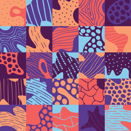 Creative abstract background with geometric element. Doodle cell structure seamless pattern in trendy colors. Design for fabric and textile. Good for card, invitation, brochure and web design.