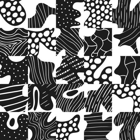 Creative abstract background with geometric element. Doodle cell structure seamless pattern in tblack and white. Design for fabric and textile. Good for card, invitation, brochure and web design. Ilustrace