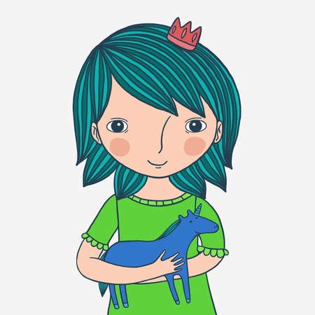 Blue Hair Princess With Unicorn