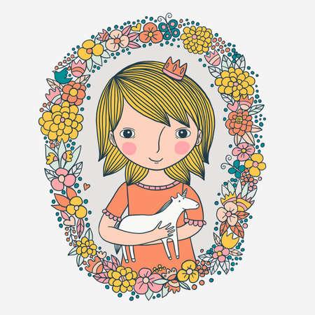Little Cute Princess With Unicorn Illustration