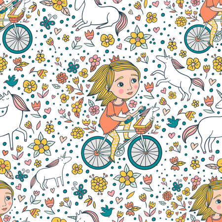 Cute Little Princess On Bike Seamless Pattern Illustration