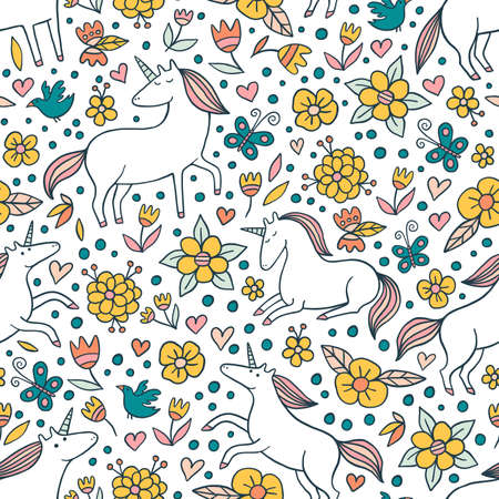 Beautiful floral pattern with unicorns. Cute vector design for kids fashion.