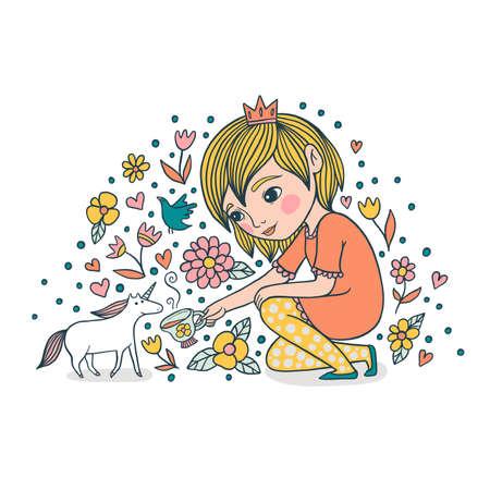 Little princess tames the unicorn cute illustration. The girl treats the unicorn with tea.