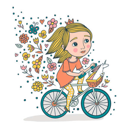 Cute little princess on a bike. Girl and her unicorn on a bicycle cute illustration.