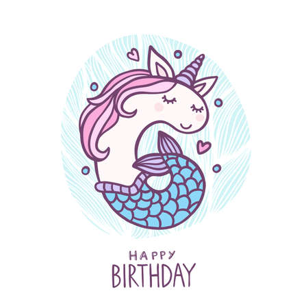 Cute Number Six Mermaid Unicorn Character Vector Illustration. Beautiful cartoon element for Kids Birthday Party invitation, greeting card and cake topper design. Illustration