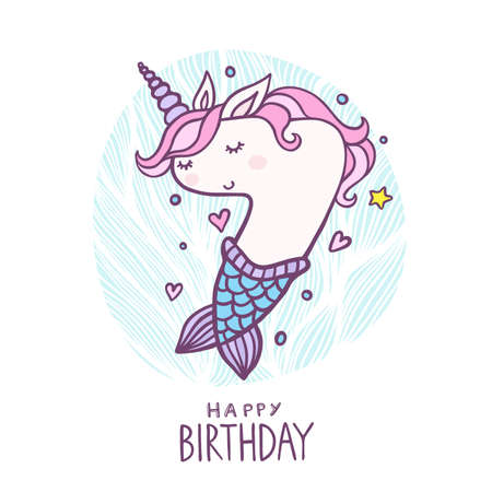 Cute Number Seven Mermaid Unicorn Character Vector Illustration. Beautiful cartoon element for Kids Birthday Party invitation, greeting card and cake topper design. Illustration
