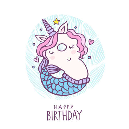 Cute Number Eight Mermaid Unicorn Character Vector Illustration. Beautiful cartoon element for Kids Birthday Party invitation, greeting card and cake topper design. Illustration