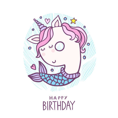 Cute Number Nine Mermaid Unicorn Character Vector Illustration. Beautiful cartoon element for Kids Birthday Party invitation, greeting card and cake topper design. Vectores