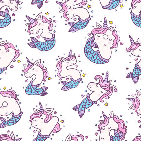 Numbers With Cute Mermaid Unicorns Seamless Pattern. Beautiful cartoon background for Kids Birthday Party invitation, greeting card and cake toppers design.