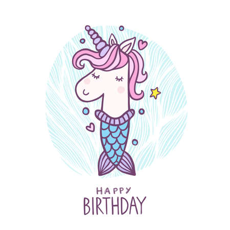 Cute Number One Mermaid Unicorn Character Vector Illustration. Beautiful cartoon element for Kids Birthday Party invitation, greeting card and cake topper design.