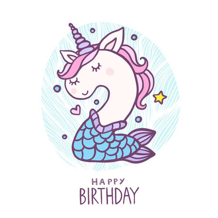Cute Number Two Mermaid Unicorn Character Vector Illustration. Beautiful cartoon element for Kids Birthday Party invitation, greeting card and cake topper design.