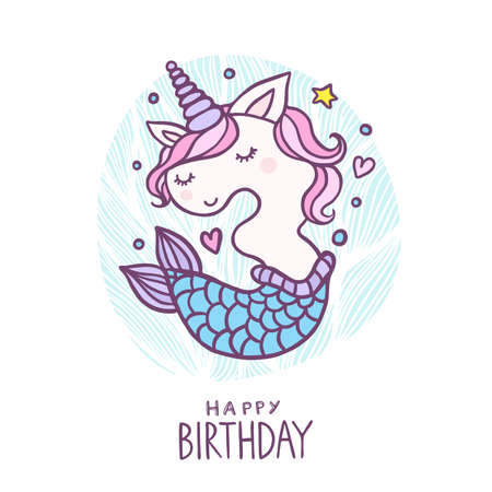 Cute Number Three Mermaid Unicorn Character Vector Illustration. Beautiful cartoon element for Kids Birthday Party invitation, greeting card and cake topper design.